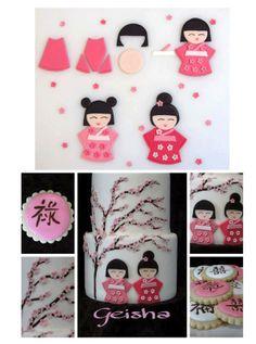 Geisha cookies or cake decorations Fondant Figures Tutorial, Cake Topper Tutorial, Fondant Toppers, Fondant Cakes, Cupcake Cakes, Fondant Bow, 3d Cakes, Japanese Cake, Japanese Doll