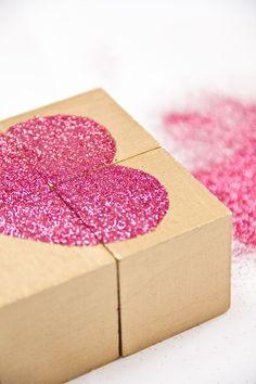 DIY Glitter Heart Block Puzzle Valentines