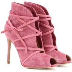Gianvito Rossi Suede Open-Toe Ankle Boots found on Polyvore featuring shoes, boots, ankle booties, booties, heels, pink, short boots, suede open toe booties, suede ankle boots and pink booties