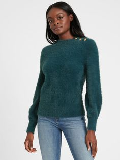 Banana Republic Fuzzy Puff-Sleeve Sweater Banana Republic Outfits, Holiday Fashion, Holiday Style, Loose Sweater, Mannequin, Lounge Wear, Nice Dresses, Dressing, Pullover