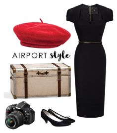 """Capture the World"" by amandarobinson730 ❤ liked on Polyvore featuring Pottery Barn, Roland Mouret, Brixton, Repetto, Nikon, travel, LittleBlackDress and airport"