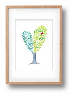 Heart Tree art Print Valentines day art by TheJoyofColor on Etsy