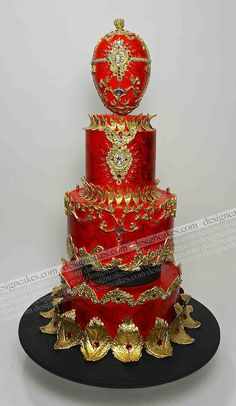 Red faberge egg cake | by Design Cakes