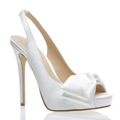 "PLATFORM:  1"" platform*  DESCRIPTION:  Satin slingback peep-toe pump with bow applique and elastic strap  FIT:  True to size  COLOR:  White  HEEL HEIGHT:  5"" heel*"