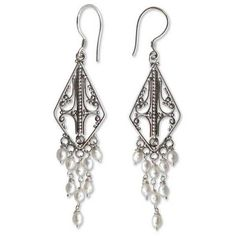 NOVICA Sterling Silver and Pearl Chandelier Earrings (540.465 IDR) ❤ liked on Polyvore featuring jewelry, earrings, chandelier, pearl, novica jewelry, earring jewelry, sterling silver jewellery, pearl jewelry and novica