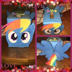 Rainbow Dash; My Little Pony Valentine Box. Cardboard box, tissue paper, card stock and markers!