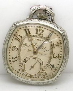 Brilliant Illinois 17J Art Deco Pocket Watch (s#5370467) circa. 1929. The face of this piece is gray with gold toned numbers and lettering. Under Illinois Paul J. Weitzel is carved into the face. There are no dents in the magnificent casing(scepter #9201409) which has a breath taking design etched into the back.