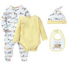 £18.00 John Lewis Farmyard Sleepsuit Set, 4 Pieces, White/Yellow. Machine washable at 40°C