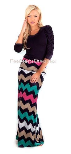 Navy and Mocha Chevron Design Maxi Skirt