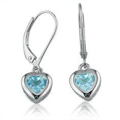 2ct Swiss Blue Topaz Heart Dangle Earrings in Sterling Silver lever-Backs Amanda Rose Collection. $27.95. Lever-Backs. Sterling Silver. 6mm Blue Topaz