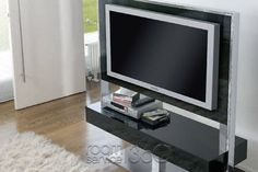 Tecno Plasma TV Stand in Shiny Black Lacquer by Antonello Italia