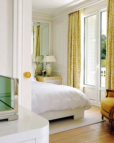 Chic Bedroom.  ZsaZsa Bellagio: Home Elegance. Love this yellow on white. #dream #home For guide + advice on lifestyle, visit www.thatdiary.com