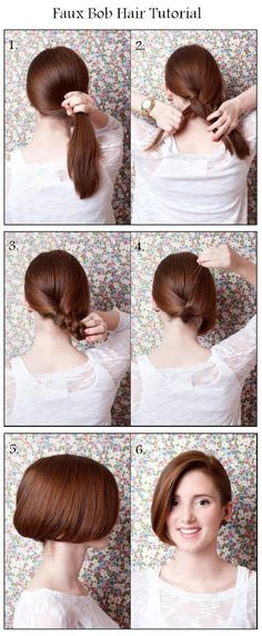 Make A Faux Bob Hair   hairstyles tutorial