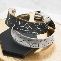 Personalised Silver Starscape Cuff. A stunning silver cuff featuring the Eastern sky seen from the exact time and place of your birth. A truly one-off individual present.