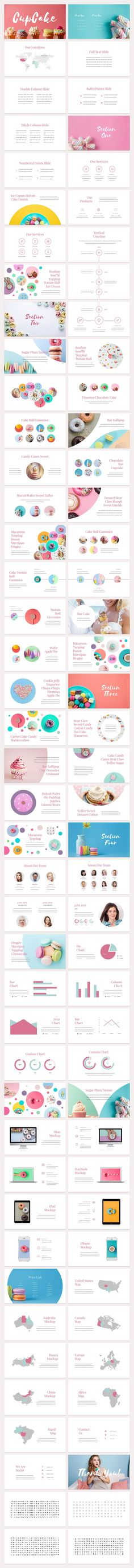 A fun, candy-colored slide deck presentation template / theme featuring pinks and blues. Perfect for bakeries, toy stores, ice cream shops, and other kid focused businesses.