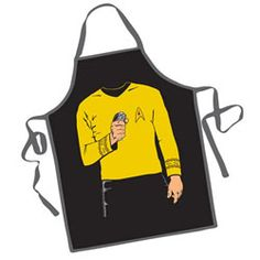 Star Trek Captain Kirk BBQ Apron- Cook like a Captain! And not just any Captain, but the Captain of the Federation USS Enterprise, Captain James Tiberius Kirk! This Star Trek Captain Kirk BBQ Apron is the best way to cosplay as Captain Kirk while making dinner; after all, you wouldn't want to get your high-end Captain Kirk costume dirty with oil and food stains, would you? This fantastic apron will make you look like you're wearing Captain Kirk's uniform and fits most adults.