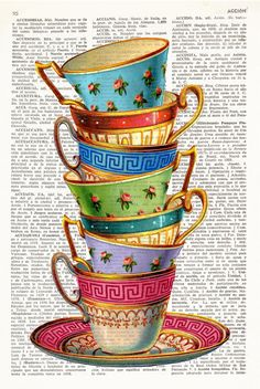 STACKING TEA CUPS Dictionary Art Stacked tea cups by ElsieVonCraft