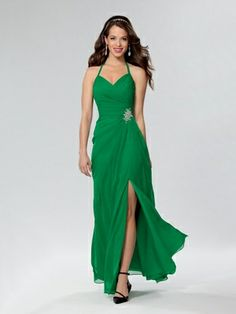 Shown in Emerald - Draped chiffon gown with front slit. V neckline with halter strap. Available in short, knee and floor lengths.