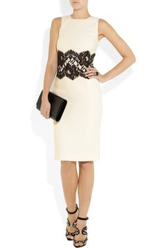 Michael Kors|Lace-trimmed stretch wool-crepe dress. the shoes go perfect with outfit