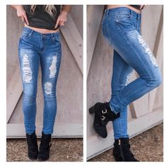 """• Distressed Jeans • Distressed skinny jeans, medium wash. If you are looking for soft, stretchy comfort, you need these in your closet! They are designed to fit your curves and body shape. Great for any shape and size. 48% cotton, 29% rayon, 21.5% polyester, 1.5% spandex.    Measurements: Sample size 7: 9.5"""" rise, 39"""" length, 15"""" hip to hip Model is wearing size 5. True to size.   No trades. Price firm. PLEASE DO NOT purchase this listing. Comment below what size you need and I'll make you…"""