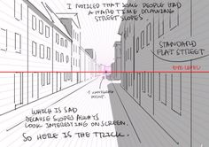 """cartoonnachos: """" as-warm-as-choco: """" How to draw street going up & down without losing your mind. by Thomas Romain (Space Dandy, Code Lyoko, Basquash! Another one… """" Ok so I spent almost two hours over Saturday at. Drawing Techniques, Drawing Tips, Drawing Reference, Perspective Drawing Lessons, Point Perspective, Thomas Romain, Background Drawing, Vanishing Point, How To Make Comics"""