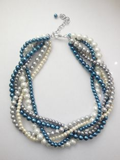 Navy blue silver white ivory pearl chunky by WildStoneJewels