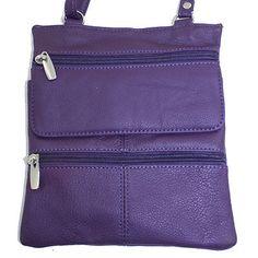 Silver Fever Genuine Leather Cross Body Travel Zip & Flip Purse Handbag Purple