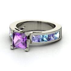 Chloe Ring, Princess Amethyst Sterling Silver Ring with Blue Topaz I love this!