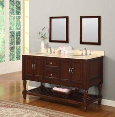 antique wooden vanity with ample shelf feat cute blurred bathroom mirror idea and laminate floor design | Stunning Bathroom Mirrors | https://www.designoursign.com #bathroom  #luxurybathroom #luxurybathroomideas #luxuryfurniture #interiordesign #luxurydesign #homedecor #designdetails