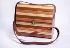 Handcrafted Designer Wooden Bag with adjustable genuine leather strap , very light in weight , stron quality made , water resistant and durable . Wooden Bag, Cape Town, Water, Bags, Design, Gripe Water, Handbags, Bag