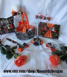 Camo and Tangerine Satin Wedding Set - Entire Set