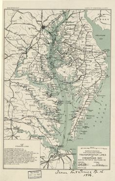 A 1926 map of steamship lines on the Chesapeake Bay, serving the Port of Baltimore. Map Geo, Transport Map, Smith Island, Delmarva Peninsula, Westmoreland County, Mackinac Bridge, Old Maps, Historical Maps, Birds Eye View
