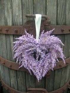 Heather heart wreath on an old barn door ♥