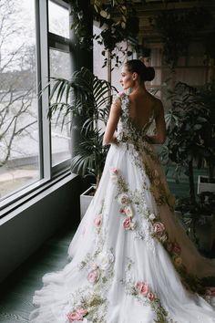 Unique Wedding Gowns, Unique Dresses, Dream Wedding Dresses, Pretty Dresses, Bridal Dresses, Bridesmaid Dresses, Unique Colored Wedding Dresses, Floral Wedding Gown, Trendy Wedding