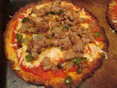 """Cauliflower pizza...1 cup """"riced"""" raw cauliflower  1 egg  1 cup mozzarella cheese (if making double the recipe, use 1-1/2 c.)  (Add salt, herbs, garlic, etc., if you want to.)  Mix together, spread in a round shape on baking pan.  (Stone pan works best.  You can spray a cookie sheet with Pam-stuff if you want, or lightly brush on olive oil.)      Bake for about 15 minutes, then add toppings and add to broiler or oven until melted and crispy"""