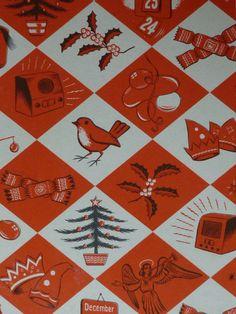 1957 Vintage Christmas Print Red Robin Red by PrimrosePrints