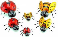 3 BUMBLE BEE & 3 LADY BIRD METAL WALL ART OUTDOOR GARDEN INDOOR JOB LOT RED GOLD