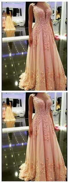 A-Line Applique Prom Dress,Pink Long Prom Dresses,Evening Dress