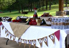 Camping Party Table  Boys Party Ideas  www.spaceshipsandlaserbeams.com