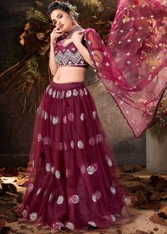 #magenta #mirror #embellished #net #lehenga #choli #designs # traditional #indian #outfits #gorgeous #wedding #look #ootd #new #arrival #womenswear #online #shopping Lehenga Choli, Net Lehenga, Lehenga Blouse, Indian Lehenga, Salwar Kameez, Costumes Anarkali, Heavy Lehenga, Indian Skirt, Choli Designs