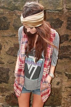 flannel cut over shirt. I want that van halen shirt right now!!!