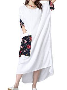 Casual Women Long Loose Half Sleeve Ethnic Style Patchwork Cotton Linen Robe Dress