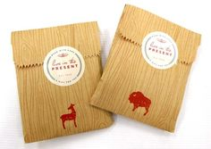 wood grain bags with animals + typography well done