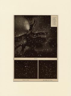 Antique (1892) lithograph. constellations, pleiades