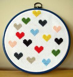 hearts / cross-stitch