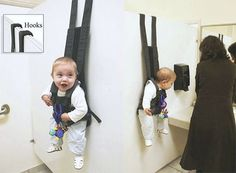 wow a new solution to what to do with baby when mom has to visit the restroom while shopping. the baby's face.