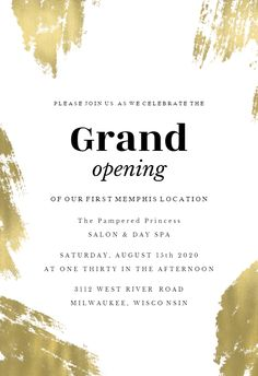 Brush strokes - Grand Opening Invitation  #invitations #printable #diy #template #grandopening Shop Opening Invitation Card, Event Invitation Templates, Grand Opening Invitations, Business Invitation, Invitation Card Design, Invitation Cards, Professional Poster, Nutrition Club, Graphic Design Posters