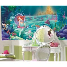 @Overstock.com.com - The charming story of Disney's The Little Mermaid can now be brought right to your walls with this XL wall mural. This fun wall art is perfect for nurseries and bedrooms, and parents will love how easy it is to apply and remove.http://www.overstock.com/Baby/Littlest-Mermaid-Chair-Rail-Prepasted-Wall-Art-Mural-6-x-10.5/7653675/product.html?CID=214117 $154.00