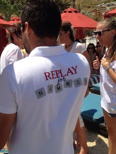 Replay custom made  t shirts for Nammos at Psarrou beach Mykonos Greece for summer