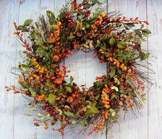 LAST ONE Fall Wreath  Thanksgiving Wreath  Fall by Designawreath